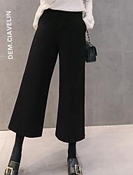 זול -נשים כותנה רחב רגל מכנסיים - מוצק בצבע גבוהה המותניים שחור
