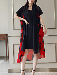 cheap -Women's Plus Size Daily Going out Sophisticated Elegant Petal Sleeves Shift Chiffon Dress - Geometric Black & Red, Lace Pleated Print V Neck Summer Green Red Yellow XXXL XXXXL XXXXXL / Sexy