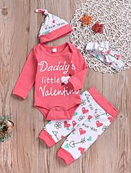 billige -Baby Jente Aktiv / Grunnleggende Daglig Trykt mønster Trykt mønster Langermet Normal Bomull Tøysett Rosa