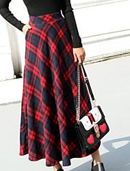 Χαμηλού Κόστους -Γυναικεία Γραμμή Α Κομψό στυλ street Φούστες - Τετράγωνο Καρό