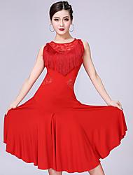 Χαμηλού Κόστους -Λάτιν Χοροί Φορέματα Γυναικεία Επίδοση Mohair Δαντέλα / Φούντα Αμάνικο Φόρεμα