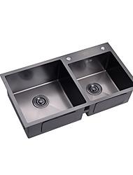 povoljno -Kitchen Sink- 304Nehrđajući čelik Boja u spreju Pravokutno Upadajte Double Bowl
