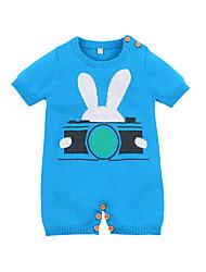 abordables -bébé Garçon Actif Quotidien Bleu & blanc Bloc de Couleur Motif des animaux Demi Manches Coton Une-Pièce Bleu