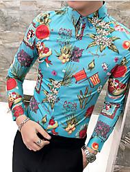 Недорогие -Муж. Рубашка Тонкие Цветочный принт / С короткими рукавами
