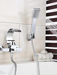 baratos -Torneira de Chuveiro / Torneira de Banheira - Moderna Cromado Montagem de Parede Válvula Cerâmica Bath Shower Mixer Taps