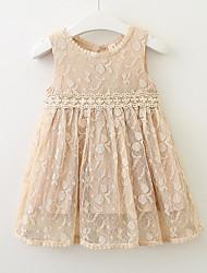 お買い得  -幼児 女の子 活発的 日常 幾何学模様 ノースリーブ 膝丈 ポリエステル ドレス ブルー