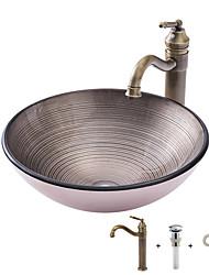 Недорогие -умывальник для ванной / смеситель для ванной / монтажное кольцо для ванной Античный - Закаленное стекло Круглый Vessel Sink
