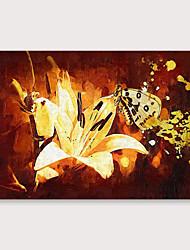 baratos -Pintura a Óleo Pintados à mão - Floral / Botânico Modern Incluir moldura interna