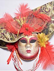 Недорогие -Косплей Венецианская маска / Половинная маска Взрослые Хэллоуин Жен. Красный / Синий / Розовый Пластик / Перья / Ткань Для вечеринок Косплэй аксессуары Хэллоуин / Карнавал / Маскарад костюмы