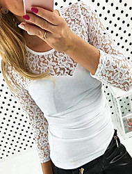 저렴한 -여성용 솔리드 / 기하학 레이스 / 패치 워크 - 티셔츠, 베이직