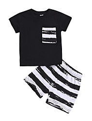 cheap -Baby Boys' Active / Basic Striped Print Short Sleeve Regular Cotton Clothing Set Black
