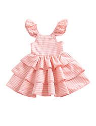 Χαμηλού Κόστους -Μωρό Κοριτσίστικα Βασικό Μονόχρωμο Αμάνικο Πολυεστέρας Φόρεμα Ανθισμένο Ροζ
