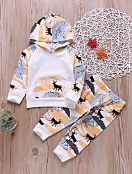 billige -Baby Gutt Aktiv / Grunnleggende Daglig Trykt mønster Trykt mønster Langermet Kort Bomull / Polyester Tøysett Regnbue