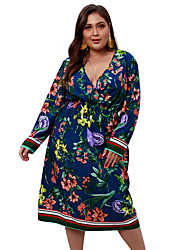 cheap -Women's Plus Size Daily Going out Basic Street chic Slim A Line Sheath Dress - Floral Color Block Black & White, Print Deep V Spring White Black Navy Blue XXL XXXL XXXXL / Sexy