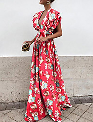 Недорогие -Жен. Рукава буффы Тонкие С летящей юбкой Платье - Цветочный принт Глубокий V-образный вырез Макси