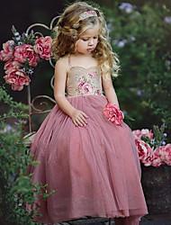 Χαμηλού Κόστους -Παιδιά / Νήπιο Κοριτσίστικα Γλυκός / χαριτωμένο στυλ Γεωμετρικό / Συνδυασμός Χρωμάτων Με Κορδόνια / Στάμπα Αμάνικο Φόρεμα Ανθισμένο Ροζ