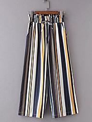 levne -dámské asijské velikosti štíhlé kalhoty kalhoty - pruhované duha