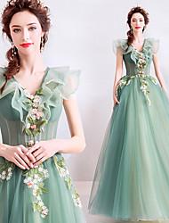 Χαμηλού Κόστους -Cinderella Φορέματα Γυναικεία Στολές Ηρώων Ταινιών Πράσινο Φόρεμα Halloween Απόκριες Μασκάρεμα Τούλι Κέντημα