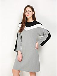 hesapli -Kadın's Büyük Bedenler Dışarı Çıkma Temel Sokak Şıklığı Pamuklu Salaş Kombinezon Tişört Elbise - Zıt Renkli Diz-boyu Siyah gri