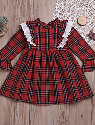 cheap -Kids / Toddler Girls' Vintage Daily Plaid Patchwork Long Sleeve Cotton Dress Red