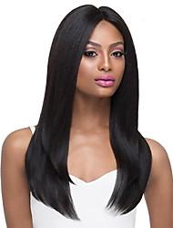 Χαμηλού Κόστους -Ανθρώπινες περούκες περούκες μαλλιών Φυσικά μαλλιά Φυσικό ευθεία Μέσο μέρος Μοδάτο Σχέδιο / Hot Πώληση / Άνετο Μαύρο Μακρύ Χωρίς κάλυμμα Περούκα Γυναικεία / Φυσική γραμμή των μαλλιών
