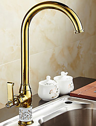 cheap -Kitchen faucet - Single Handle One Hole Electroplated Standard Spout Ordinary Kitchen Taps