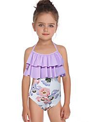 ราคาถูก -เด็ก / Toddler เด็กผู้หญิง พื้นฐาน / สไตล์น่ารัก Sport / ชายหาด ลายดอกไม้ ระบาย / ลายพิมพ์ เสื้อไม่มีแขน ไนลอน ชุดว่ายน้ำ ตะพุ่น