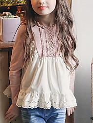 Недорогие -Дети Девочки Активный Контрастных цветов Длинный рукав Рубашка Розовый