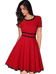 Недорогие -Жен. Элегантный стиль Оболочка Платье - Однотонный, Пэчворк Завышенная До колена / Сексуальные платья
