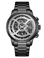 Недорогие -NAVIFORCE Муж. Спортивные часы Часы со скелетом Армейские часы Японский Японский кварц Нержавеющая сталь Черный / Золотистый / Небесно-голубой 30 m Защита от влаги Календарь Фосфоресцирующий