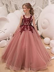 Недорогие -Дети Девочки Активный Милая Для вечеринок Праздники Пыльная роза Однотонный Без рукавов Макси Платье Розовый
