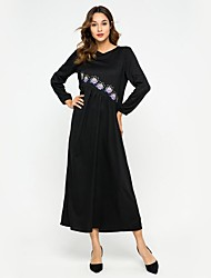 cheap -Women's Daily Street chic Elegant Loose Shift Dress Embroidered Spring Black L XL XXL