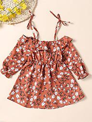 זול -שמלה שרוול ארוך אחיד / דפוס בנות תִינוֹק