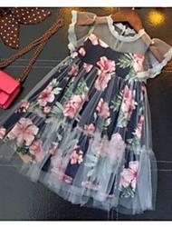 お買い得  -子供 女の子 ベーシック フラワー ノースリーブ ドレス ネイビーブルー
