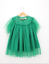 Χαμηλού Κόστους -Νήπιο Κοριτσίστικα Γλυκός / χαριτωμένο στυλ Μονόχρωμο Δαντέλα Κοντομάνικο Φόρεμα Πράσινο του τριφυλλιού