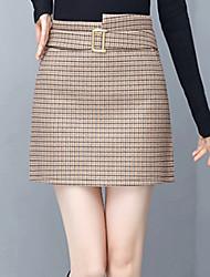 Χαμηλού Κόστους -Γυναικεία Γραμμή Α Βασικό Φούστες - Houndstooth
