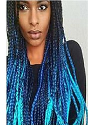 cheap -Synthetic Lace Front Wig / Dreadlocks / Faux Locs Plaited Style Layered Haircut Lace Front Wig Black Black / Blue Synthetic Hair 24 inch Women's Women / Color Gradient / Plait Hair Black / Blue Wig