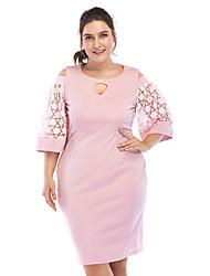 Недорогие -Жен. Большие размеры Классический Оболочка Платье - Однотонный, Аппликация Завышенная До колена / Сексуальные платья