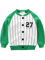 ราคาถูก -เด็ก เด็กผู้ชาย พื้นฐาน Sport / โรงเรียน ลายแถบ ลายพิมพ์ แขนยาว สั้น ฝ้าย เสื้อมีฮู้ดและเสวตเชิร์ต ใบไม้สีเขียวที่มีสามแฉก