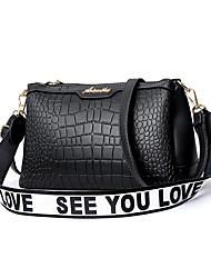 preiswerte -Damen Taschen PU Umhängetasche Reißverschluss Volltonfarbe Rosa / Purpur / Khaki