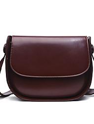 Χαμηλού Κόστους -Γυναικεία Τσάντες PU Τσάντα ώμου Συμπαγές Χρώμα Μαύρο / Σκούρο καφέ