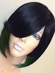 저렴한 -코스튬 악세사리 여성용 직진 블랙 뱅포함 인조 합성 헤어 27 인치 여성 블랙 가발 짧음 기계 제작 블랙 / 레드 블랙 블랙 / 로즈