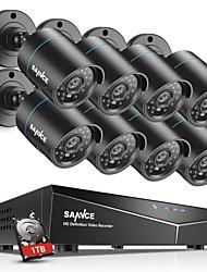 Недорогие -Sannce 8ch 720p система безопасности 8шт система ночного видения с системой видеонаблюдения HDTV 1 ТБ день ночь удаленного доступа обнаружение движения водонепроницаемый выход HDMI
