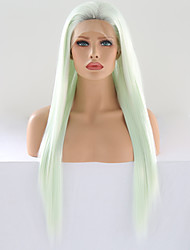 cheap -Synthetic Lace Front Wig Matte / Silky Straight Style Free Part Lace Front Wig Green Mint Green Synthetic Hair 24 inch Women's Cosplay / Adjustable / Heat Resistant Green Wig Long Cosplay Wig / Yes