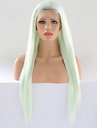 abordables -Perruque Lace Front Synthétique Droit soyeux Vert Partie libre Vert de menthe Cheveux Synthétiques 24 pouce Femme Ajustable / Résistant à la chaleur / Homme Vert Perruque Long Lace Frontale