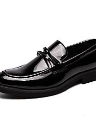 abordables -Hombre Zapatos Confort Cuero Sintético Otoño Zapatos de taco bajo y Slip-On Negro