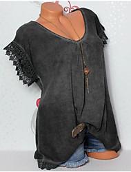 Χαμηλού Κόστους -γυναικείο πουκάμισο μεγέθους - συμπαγές στρογγυλό λαιμό