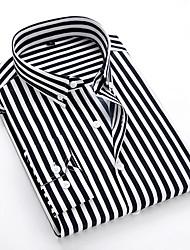 Недорогие -Муж. Размер ЕС / США - Рубашка Классический воротник Полоски Черный / Длинный рукав