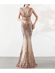 cheap -Mermaid / Trumpet Plunging Neck Floor Length Tulle / Sequined Dress with Beading / Sequin / Crystals by LAN TING Express