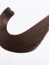 저렴한 -Premierwigs 씨실 인간의 머리카락 확장 직진 미처리 인모 익스텐션 브라질리언 헤어 천연 다크 브라운 1개 털실 천연 최고의 품질 여성용 다크 브라운